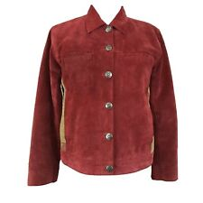 Chico's Design Women's Sz 0 Small S Red 100% Leather Jacket Coat Asian Print