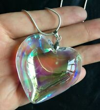 45mm Fashion heart Crystal Glass Pendants Vintage Statement chian Necklaces