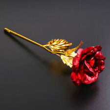 24k Gold Plated Rose Flowers Anniversary Mothers Day Girlfriend Romantic Gift