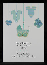 Large Personalised Handmade New Baby Boy or Grandson Card by Bijou Crafts