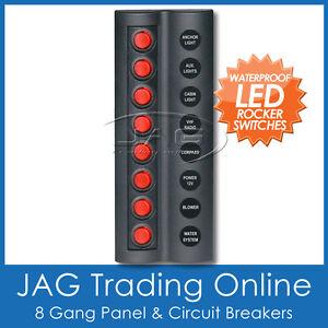 8 GANG RED ROUND LED ROCKER SWITCH PANEL & CIRCUIT BREAKERS -Marine/Boat/Caravan