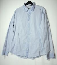 BLUE WHITE GENTS STRIPED FORMAL SHIRT TOP SIZE L NEXT