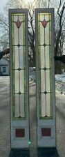 Pr Antique Leaded Flower Stained Glass Side lights 12X84 Door Window Vtg 65-20J