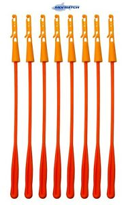 Pack of 8 MDI Orange Pole Fishing Elastic Winder Bung with Extractor (10-15mm)