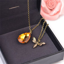 1x Fashion Jewelry Chain Crystal Bee and Honey Necklace Golden Rhinestone JR