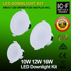 10W/12W/16W IP44 DIM/Non-Dim LED DOWNLIGHT KIT WARM/DAYLIGHT WHITE