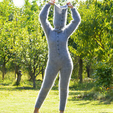 Hand Knitted Mohair Catsuit Sweater Bodysuit Pullover Grey Catsuit EXTRAVAGANTZA