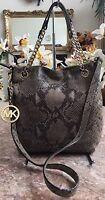 Michael Kors Medium Gray Snakeskin Leather Tote Chain Shoulder Handbag Purse