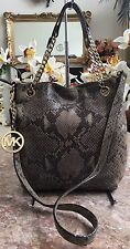 Michael Kors Medium Gray Snakeskin Leather Tote Chain Shoulder Handbag Purse