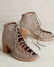 NIB Antropologie Jeffrey Campbell Cors Peep Toe Taupe Suede Booties Size 10