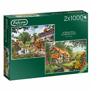 2 x 1000 Piece Falcon deluxe Jigsaw Puzzles Summers Day Church & Village 11248
