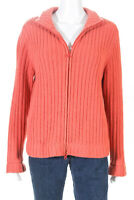 Lulu Bravo  Womens Zip Up Cardigan Sweater Orange Cashmere Size Large