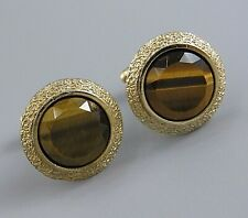 Mens Vintage FACETED TIGER EYE CUFFLINKS Costume Jewelry P45