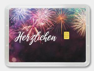 """Feingoldbarren 99,99% im Blister """"Glückwunsch"""" neu original Valcambi Suisse OVP"""
