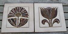 2 x Ceramano WANDPLATTE FLIESE RELIEF WALL PLAQUE Pottery Kunstkeramik
