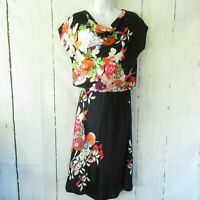 Natorious Natori Silk Dress M Medium Black Floral Draped Neck Blouson
