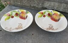 """2 Artimino Fruit Barocca Serving Bowls, Made in Italy, 8.25"""" D, Cherries, Apples"""