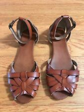 b18904d1ed1 Mossimo Supply Co.Women s Brown Leather Ankle Strap Brown Sandal S. 10