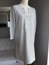 Boden white striped tunic dress in size 12 with string detail at neck. MINT cond