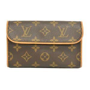 Louis Vuitton Pochette Florentine M51855 Monogram Pouch Bag Brown France LV