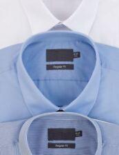 Camicie classiche da uomo regolanti blu polsino singoli