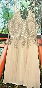 BEADED COCKTAIL  DRESS CHAMPAGNE  10