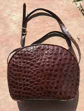 1beab3c59e12 Euc SALVATORE FERRAGAMO RARE Brown Leather ITALY Embossed Shoulder Bag  Crossbody