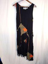 Vintage Sistahz!! Sleeveless Asymmetric Hem Ethnic Print Dress Black sz L