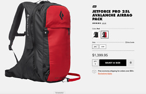 Black Diamond JetForce Pro 25L Avalanche Airbag Pack, used 2 days, size M/L