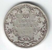 CANADA 1915 TWENTY FIVE CENTS QUARTER KING GEORGE V STERLING SILVER COIN