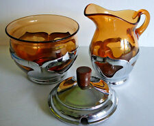 Farber Bros. Art Deco Amber Cambridge Glass & Chrome Creamer Sugar Bowl & Lid