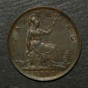 VICTORIA 1895 FARTHING. YOUNG HEAD VARIETY. SCARCE.