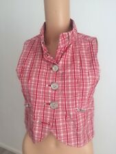 Ladies Small Red White Check Firetrap Cotton Top / Waistcoat Excellent Condition