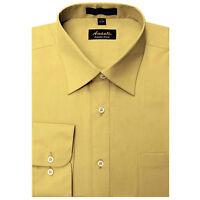 Mens Dress Shirt Plain Mustard Modern Fit Wrinkle-Free Cotton Blend Amanti