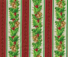 Northcott Christmas Story Stripe Red Gold Green Quilt Fabric for Stockings Mats