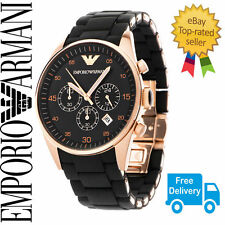 New Mens Emporio Armani AR5905 Black & Rose Gold Chronograph Watch with Warranty
