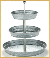 3 TIER Serving Stand Galvanized Round Metal Tray Food Storage Office Supplies