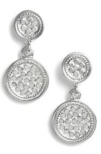 """NWT ANNA BECK GILI STERLING SILVER DOUBLET DISK DROP EARRINGS 1"""" LENGTH"""
