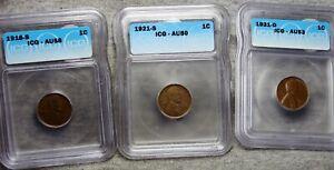 1918-S 1921-S 1931-D Lincoln Cent AU-58 AU-53 AU-50 ICG Condition Lot #819