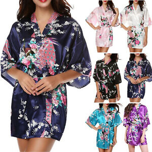 Women Silk Satin Robe Kimono Cardigan Mini Dress Gown Bathrobe Pyjamas Sleepwear