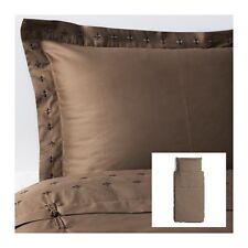 IKEA VINRANKA - Duvet Cover and Pillowcase Twin Size Brown Cotton Sateen