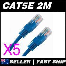 5x 2m Cat 5 5E Cat5 Cat5E Blue  Ethernet Network LAN Patch Cable Lead