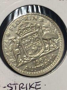 AUSTRALIA 1962 FLORIN SILVER COIN......MIS-STRIKE ERROR