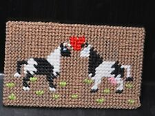 """Holstein Cow & Bull in Love needlepoint on plastic canvas Completed 4x6.5"""""""
