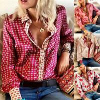 Women Casual Blouse Printing Button V Neck T-Shirt Long Sleeve Loose Tops Shirt