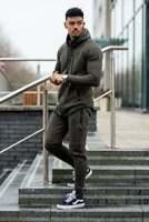 Mens New Gym King Designer Performance Curved Hem Burnt Olive Full Tracksuit Set