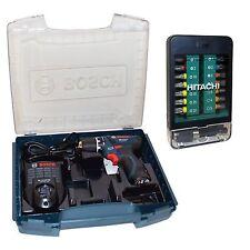 Bosch Akkuschrauber GSR 10,8-2-LI + Akku + i-Boxx 72 + Hitachi Bitbox 15-teilig