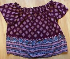 Pink Rose Off the Shoulder Teen Girl ShirtTop  Size Large Plum Aztec Design
