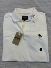 New Mens Abercrombie And Fitch Stretch Polo Shirt White Small