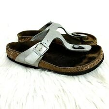 Birkenstock Gizeh Sandals size 6 Thong Silver One Buckle